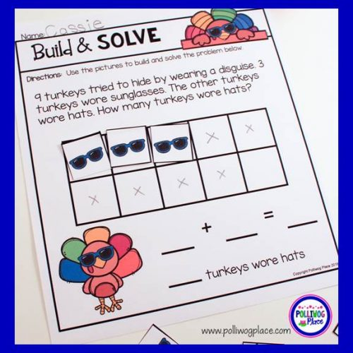 Build and Solve Word Problems - Thanksgiving
