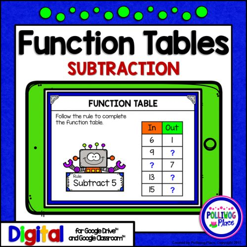 Function Tables - Subtraction for use with Google Drive