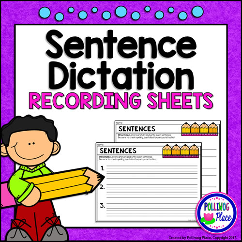 Sentence Dictation Recording Sheets