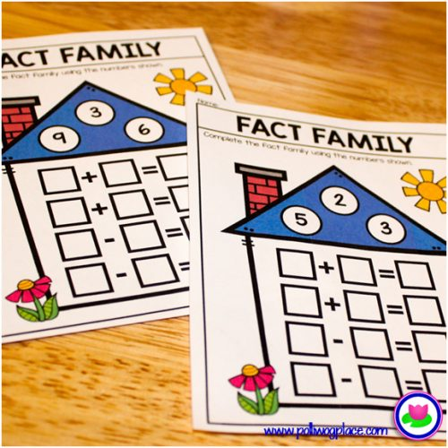 math fact family houses - addition and subtraction
