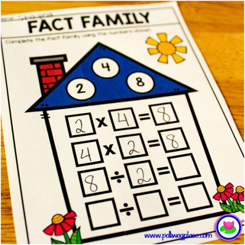 math fact family houses - multiplication and division