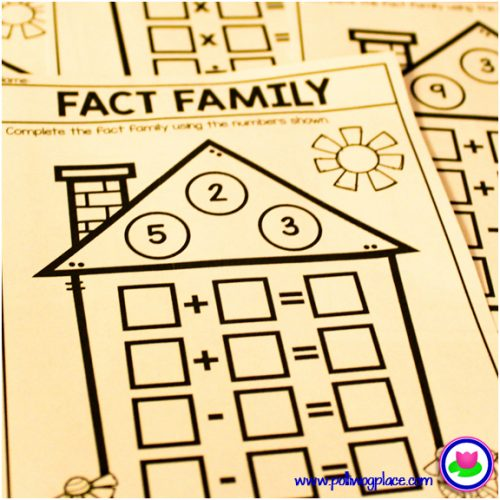 math fact family houses - color or black and white pages