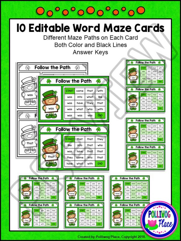 St Patrick Sight Word Maze 02