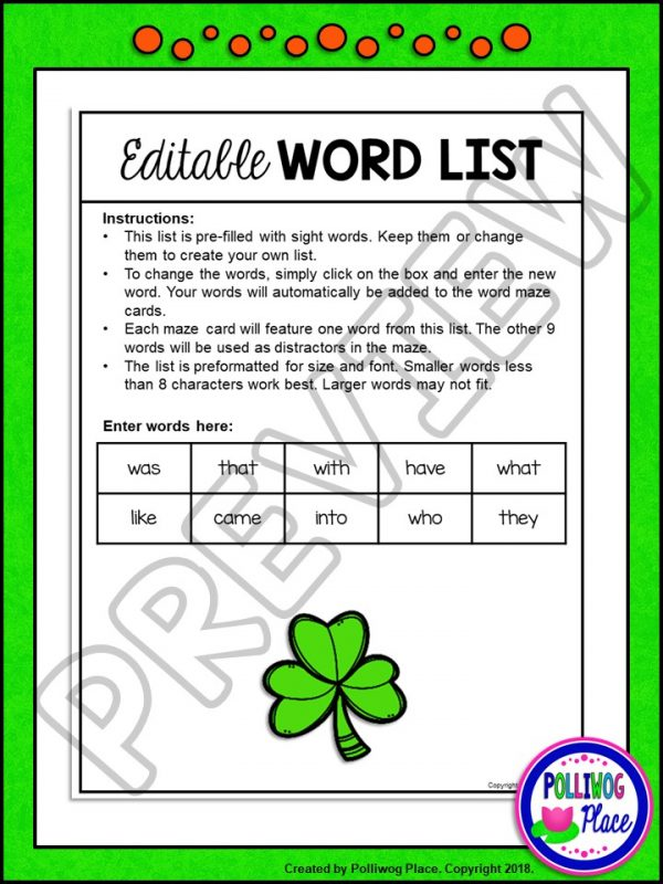 St Patrick Sight Word Maze 03