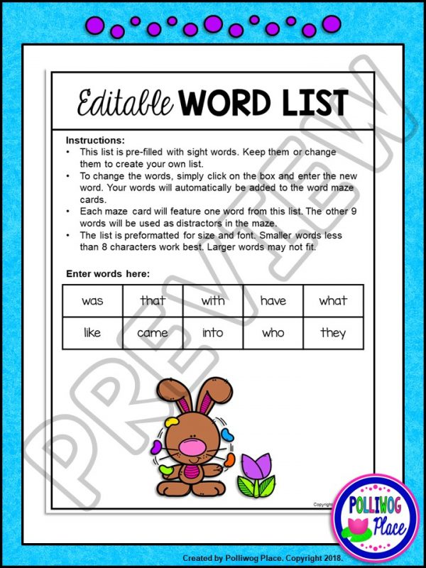 Easter Bunny Sight Word Maze 03