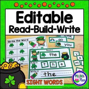 Editable Read Build Write Sight Words - St Patrick