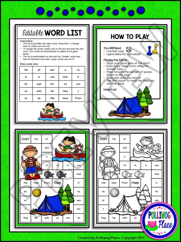 Camping Sight Word Board Game 02