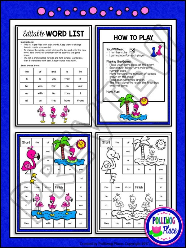 Flamingo Sight Word Board Game 02