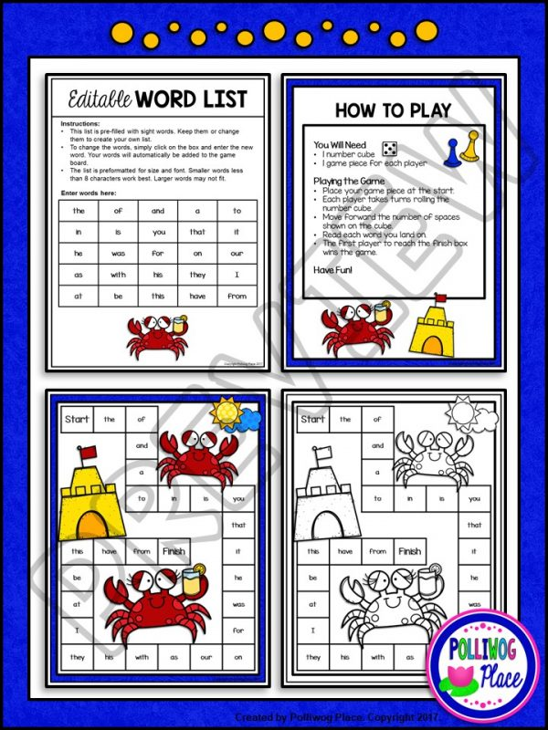 Summer Crabs Sight Word Board Game 02