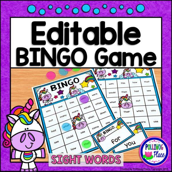 Editable Unicorn Bingo Game