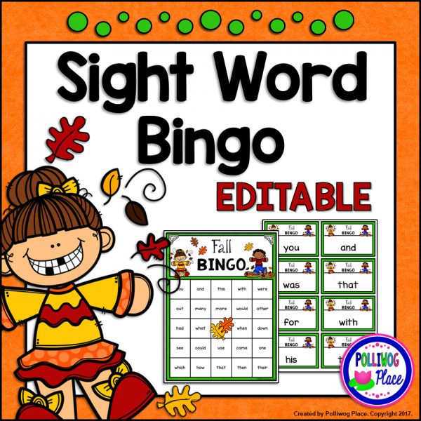 Fall Sight Word Bingo SMJ