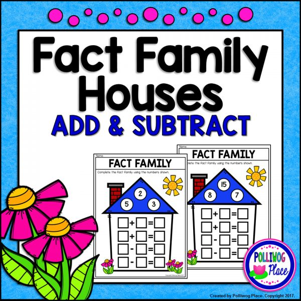 Math Fact Family Houses Add and Subtract SMJ
