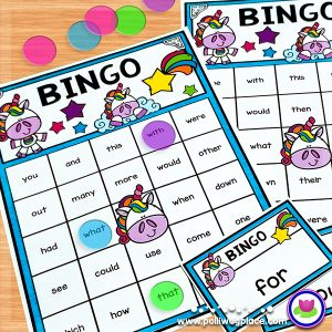 Sight Word Bingo Unicorns