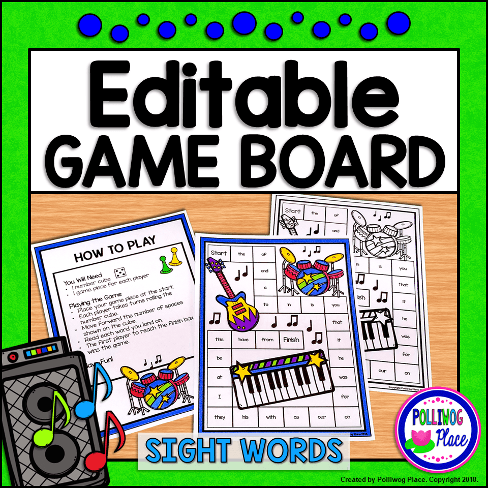 sight word game board rock band editable