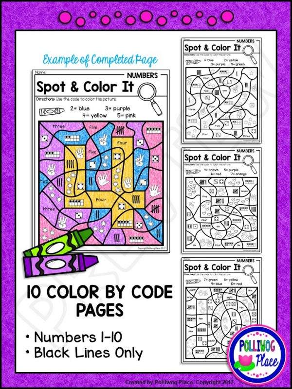 Spot and Color It - Numbers 1-10 PREVIEW