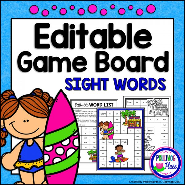 Surfer Sight Word Game Board SMJ
