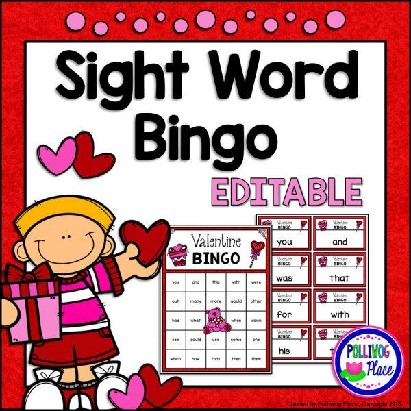 Valentine Bingo with Sight Words SMJ