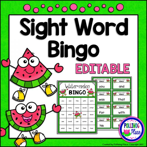 Watermelon Sight Word Bingo SMJ