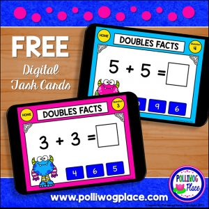 Doubles Facts Digital Task Cards Freebie