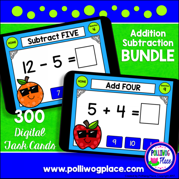 Math Facts Digital Task Card Bundle