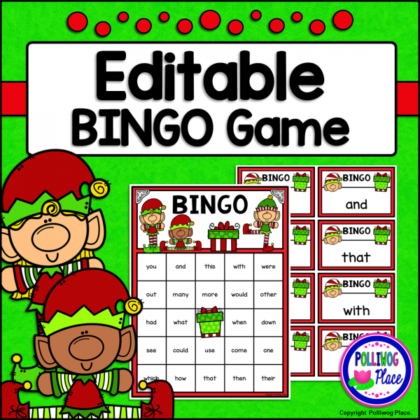Christmas Elves Editable Bingo Game