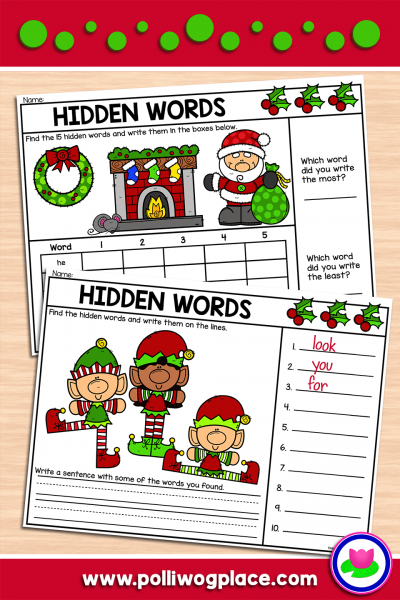 Hidden Words Activity - Christmas
