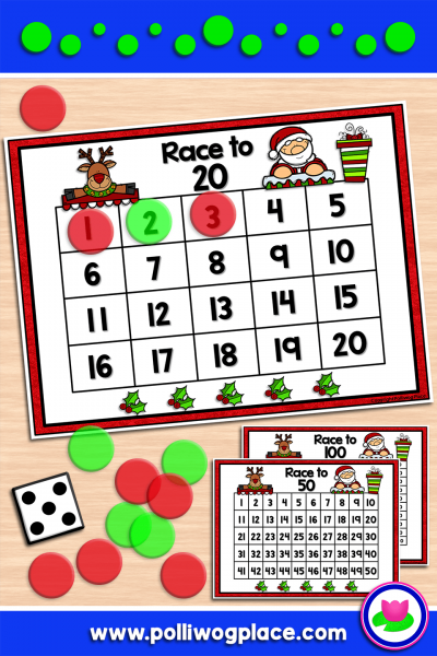 Race with Santa and Rudolf to build number sense! Students roll the number cube and count the dots. Place markers to cover that number of spaces. Take turns rolling and adding numbers to get to 20, 50, or 100.