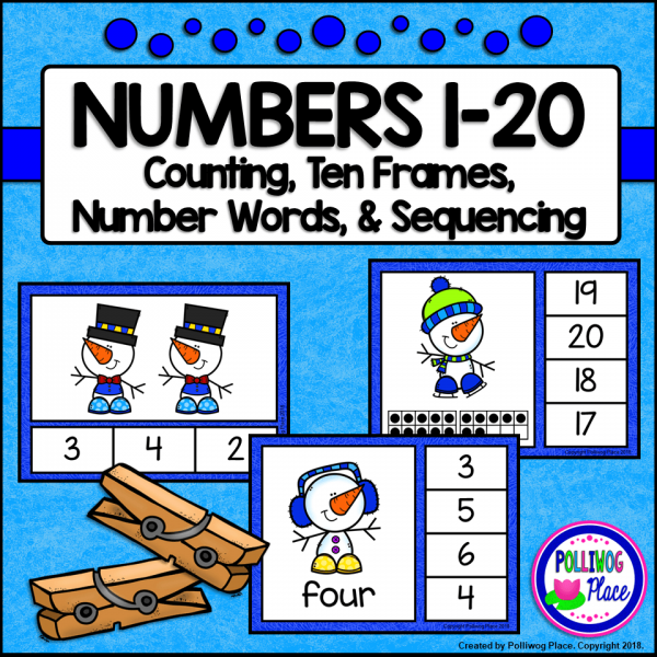 Clip Cards for Numbers 1 to 20 - Snowman