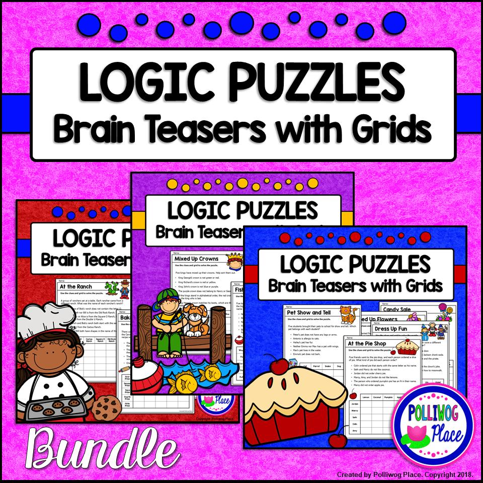 Logic Puzzles – Brain Teaser Puzzles with Grids – BUNDLE