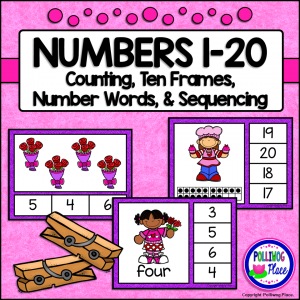Number Clip Cards - Valentine