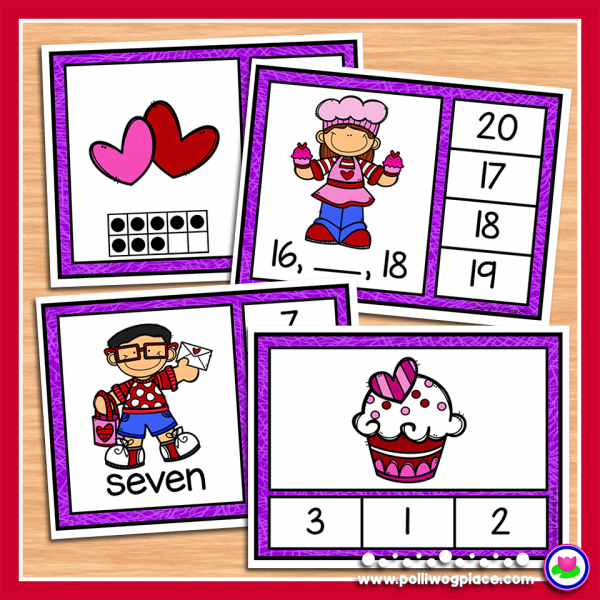 Valentine Clip Cards Numbers 1 to 20