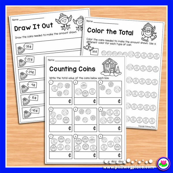 Winter Counting Coins Activity Pages