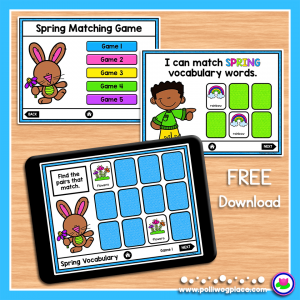 Spring Vocabulary Digital Matching Game