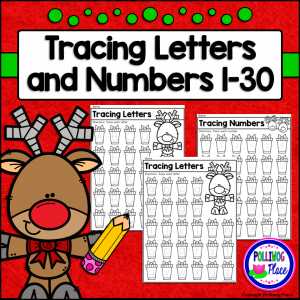 Tracing Letters and Numbers - Christmas Reindeer
