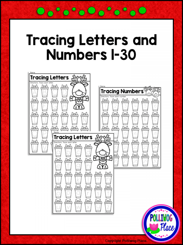 Tracing Letters and Numbers Christmas Reindeer Preview 01