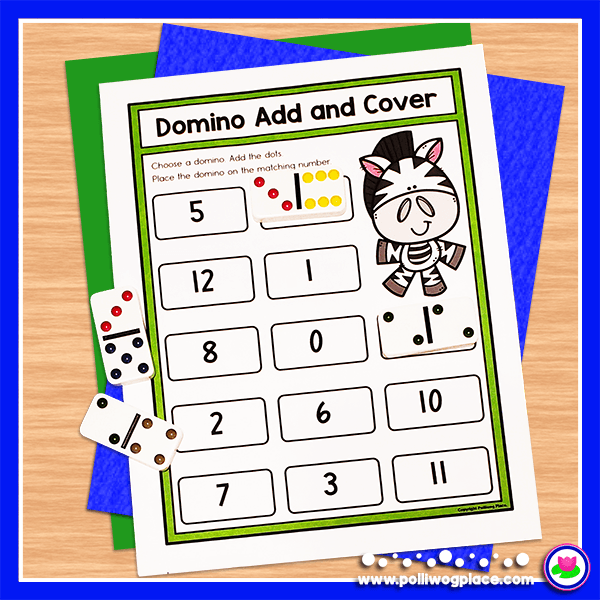 Domino Math Activity - add and cover