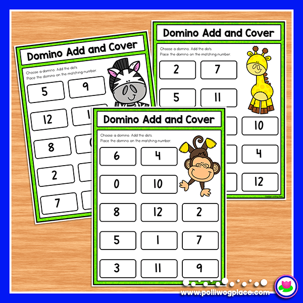 Domino add and cover math activity pages